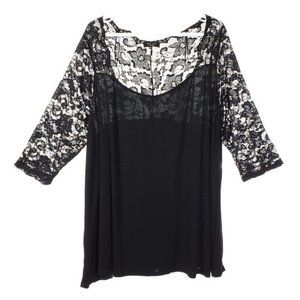 NEW LOOK Inspire Black 3/4 Sleeve Lace Shirt